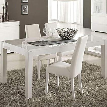 M-085 Table à Manger Blanc laqué 160x90 cm Bianco