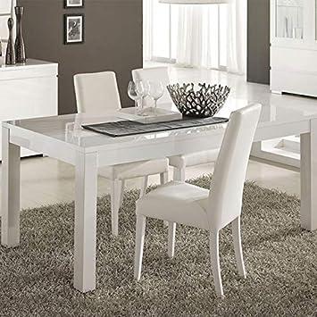 M-085 Table à Manger Blanc laqué 190x90 cm Bianco: Amazon.fr ...