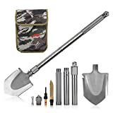 OYISIYI Military Folding Shovel/Pick with Carrying Pouch, Tactical Trench Shovel Tool, Car Emergency Shovel, Multi Purpose Survival Shovel Steel Spade for Camping Hiking Backpack Gardening Snow Army