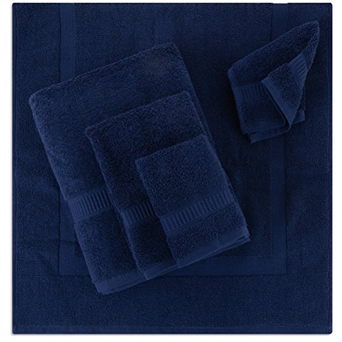 5- Piece Bath Mat Set | Matching Bathroom Floor Mat with Towels | All-in-one Shower Collection | Spa Gift Package |1 Bath Mat, 1 Bath Towel, 1 Hand Towel, 2 Wash Cloths | 100% Organic Cotton (Navy) by Alurri