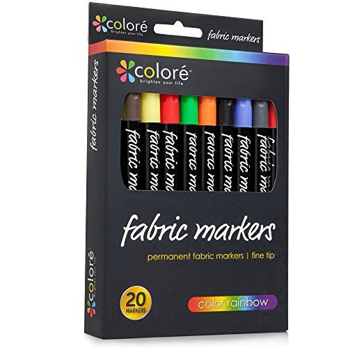 Colore Premium Fabric Markers - 20 Rich Pigment Fine Permanent Graffiti Coloring Pens - Child Safe & Non Toxic -...