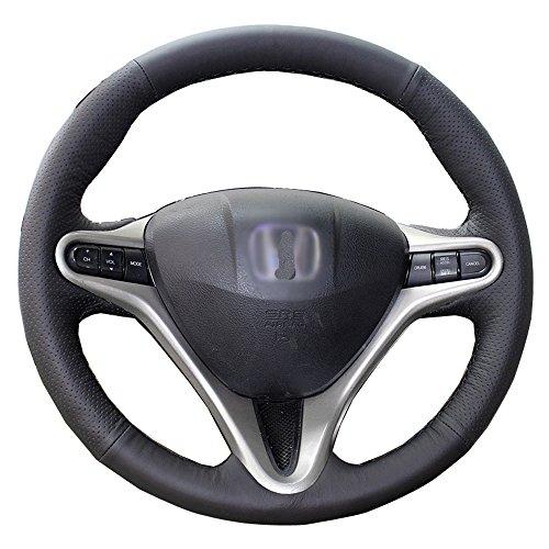 Eiseng Genuine Leather Steering Wheel Cover Wrap for Honda Civic 07 2008 2009 2010 2011 (Black Thread)