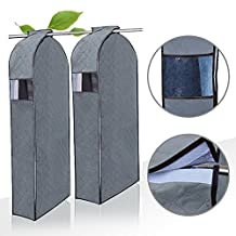 SUNKY - 2PCs Garment Cover Protector, Breathable Bamboo Fabric Hang Clothes Dust Cover Dustproof Garment Jacket Storage Bag Suit Overcoat Coat Dress Windcoat with Clear Window - Large