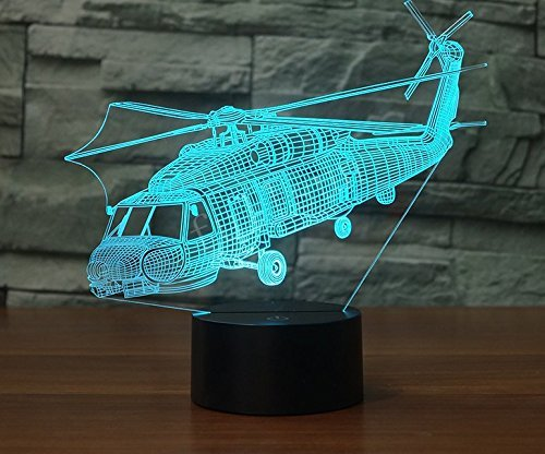 (Jinnwell 3D Plane Helicopter Night Light Lamp Illusion Animal Night Light 7 Color Changing Touch Switch Table Desk Decoration Lamps Perfect Christmas Gift with Acrylic Flat ABS Base USB Cable Toy)