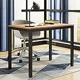 Need Computer Desk- 39 3/8 Length Computer Table for Small Space Writing Desk Gaming Desk Home Office Desk, Teak Color Desktop+ Black Frame AC3BB-100-60