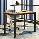 Need Computer Desk- 39 3/8'' Length Computer Table for Small Space Writing Desk Gaming Desk Home Office Desk, Teak Color Desktop+ Black Frame AC3BB-100-60