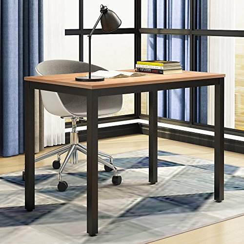 need computer desk- 39 3/8'' length computer table for small space writing desk gaming desk home office desk, teak color desktop+ black frame ac3bb-100-60