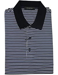 Men's Black Blue Striped 100% Cotton Short Sleeve Polo T-Shirt