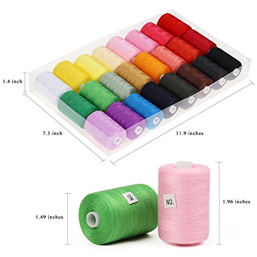 Sewing Thread, 24 Spools 1000 Yards Polyester DIY Premium Sewing Supplies sewing kit for Beginners, Emergency, Sewing Machine