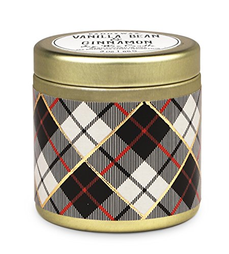 Paddywax Tartan Holiday Collection Scented Travel Tin Candle, 3-Ounce, Vanilla Bean & - Holiday Travel Tin