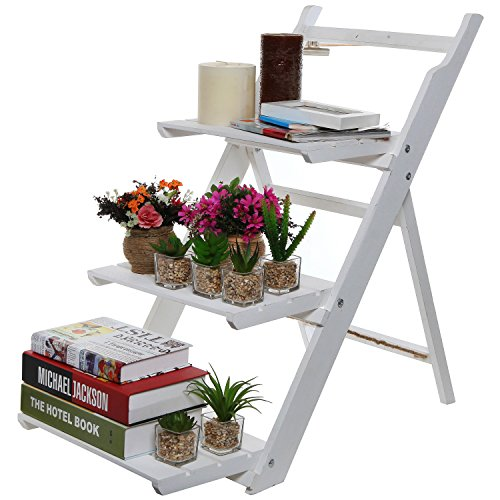 3 Tier Fold Out Rustic Garden White-Washed Finish Wood Decorative Plant Stand Display Shelf - MyGift