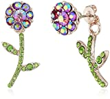 Betsey Johnson Flower Front Back Earrings-Jackets, Purple, One Size