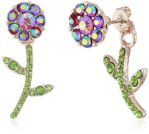 Betsey Johnson Flower Front Back Earrings-Jackets, Purple, One Size