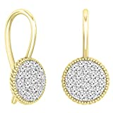 0.65 Carat (ctw) 14K Yellow Gold Round White Diamond Ladies Cluster Style Dangling Drop Earrings