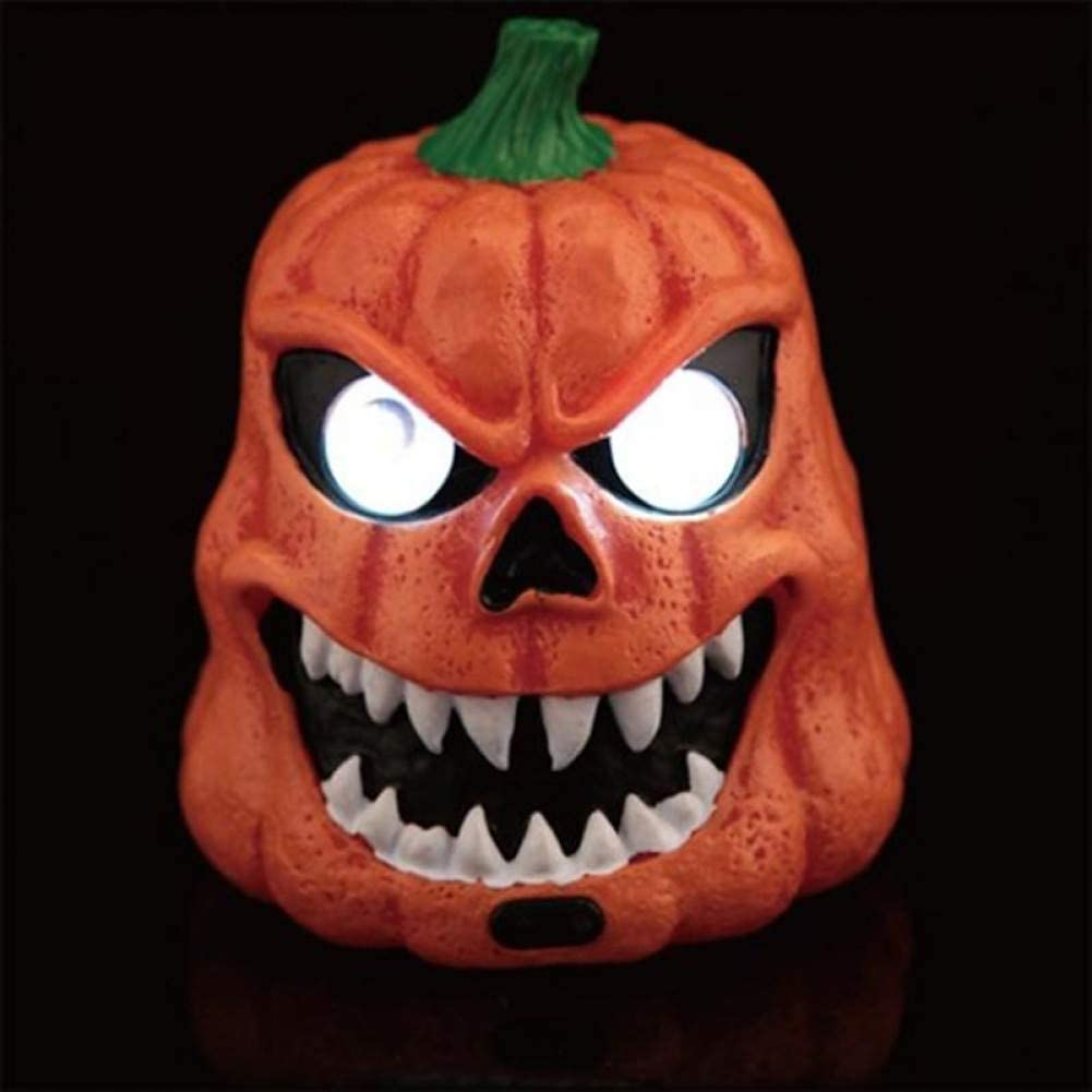 RCFRGV Máscara de Halloween Terrible Leds Luminoso Ojos Resina Superficie Lisa Cráneo para Halloween