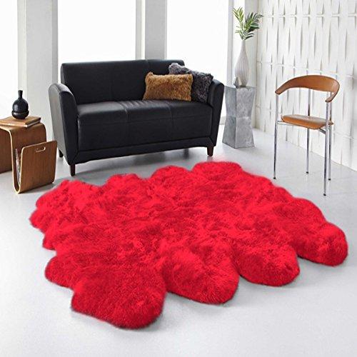 Sheepskin Rugs Octo - Longfeng Genuine Sheepskin Rug Red Octo Pelt Natural Fur - Sheepskin Rug Pad for Bedroom Living Room (Octo/6ft x 7.5ft, Red)