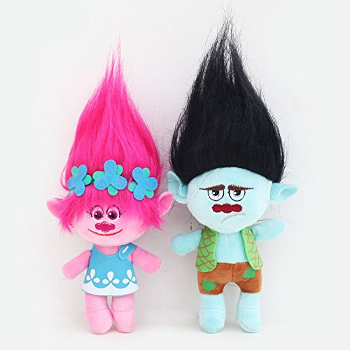 HOT Sale 2Pcs Movie Trolls Poppy & Branch Hug 'N Plush Doll Toy Set Gift 9