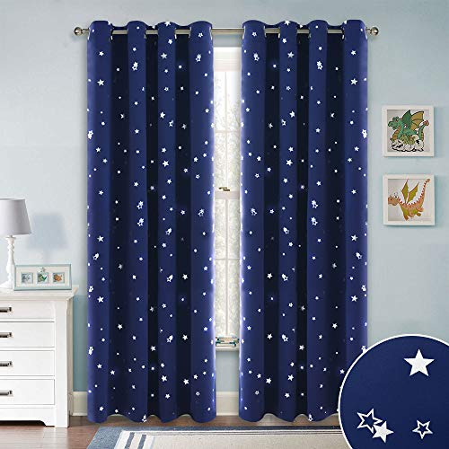 Foil Panel - RYB HOME Blue Star Blackout Curtains Panels Window Treatment Top Eyelet Blackout Twinkle Star Curtains/Foil Printed Drapes for Kids' Room/Child Bedroom, Wide 52 by Long 84 Inches, 2 Panels
