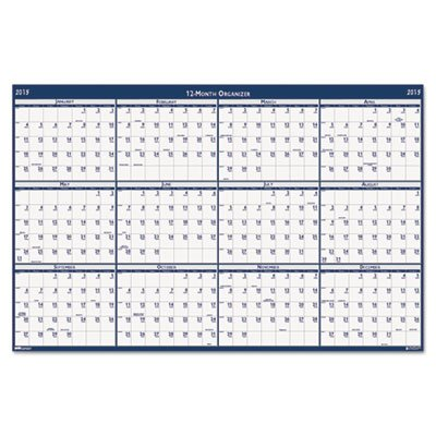 (Poster Style Reversible/Erasable Yearly Wall Calendar, 18 x 24, 2017)