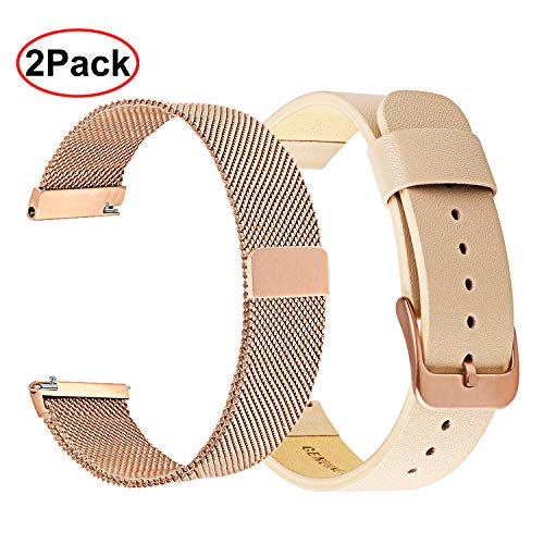 (Galaxy Watch 42mm Women Bands, TRUMiRR Quick Release Soft Genuine Leather Band + Milanese Loop Mesh Metal Strap Bracelet Wristband for Samsung Galaxy Watch 42mm, Garmin Vivoactive 3 (Rose Gold))