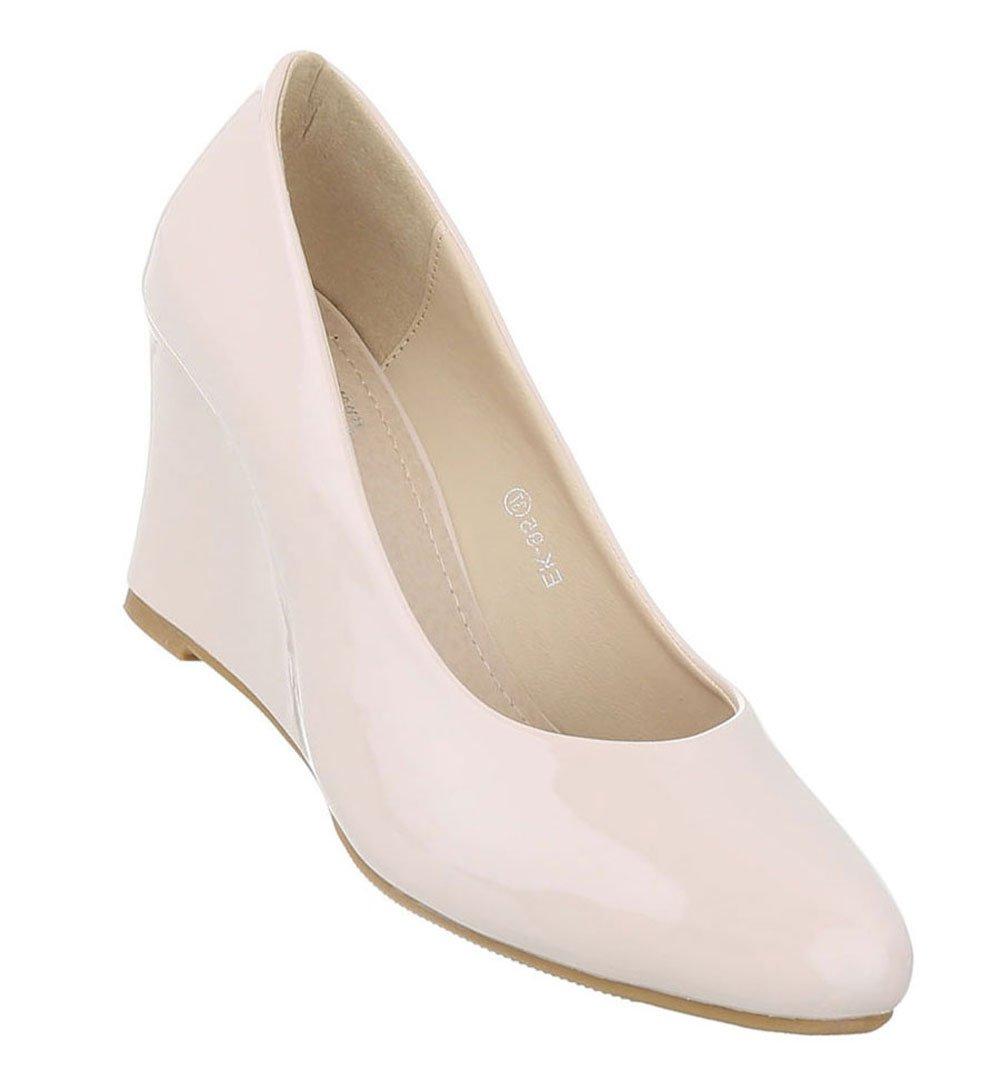 Schuhcity24 Klassische Pumps Damen Keilpumps Keilabsatz Schuhe High Heels Keilabsatz Bequeme Abendschuhe Leder-Optik Damenschuhe Wedges Hoch36 EU|Beige