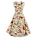ZAFUL Women's 1950s Retro Vintage Floral Cap Sleeve Party Swing Cocktail Dress (4XL, Beige-Red Floral)