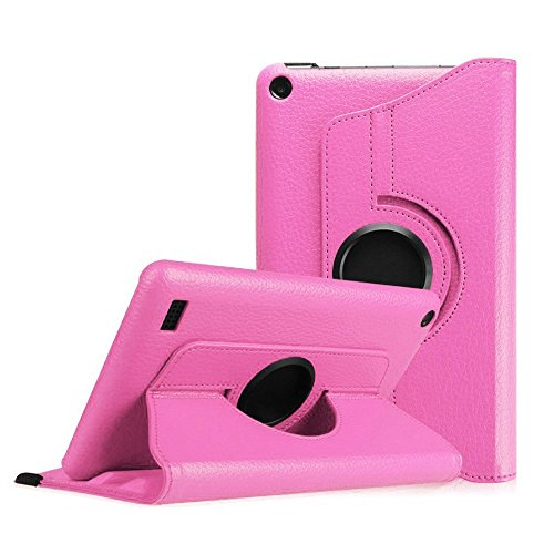 Price comparison product image For Kindle Fire HD 7, AMA(TM) New Leather 360 Rotating Folio Stand Case Protective Cover for Amazon Kindle Fire HD 7 Tablet (2015 Edition) (Hot Pink)