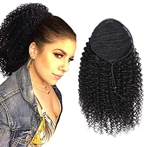 - RACILY Curly Human Hair Ponytail with Wrap Drawstring 3C Remy Brazilian Virgin Hair Natural Color Afro Kinky Curly Hair Piece Clip-in Extensions (20