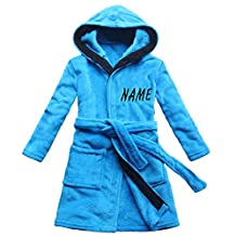 [Embroidered name] Blue children's bath robe coral cashmere warm boy's nightgown