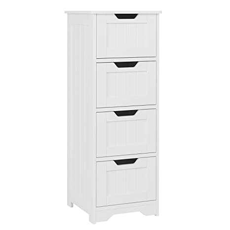 Homfa Bathroom Floor Cabinet Wooden Free Standing Storage Cabinet Side Organizer Unit With 4 Drawer White