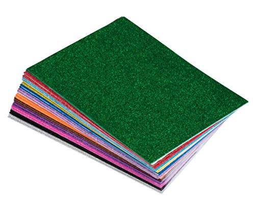 Foam Sheets - 48-Pack Adhesive Glitter Foam Paper, Foamie Sheet, EVA Foam Sheet, Craft Foam, Colored Foam, for Classroom Project, Scrapbooking, DIY Art, Party, 12 Assorted Color, 6 x 9 x 0.07 Inches ()