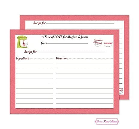 Bonnie Marcus Personalized Pink Balancing Bride Recipe Cards For Bridal Shower 40ct