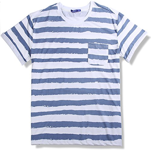 Striped T Shirt with Pocket for Men, Plusart Men's Short Sleeve Printed Tee - US 2X-Large/50 (Asia 4XL) - Blue Stripes (Smee Costume)