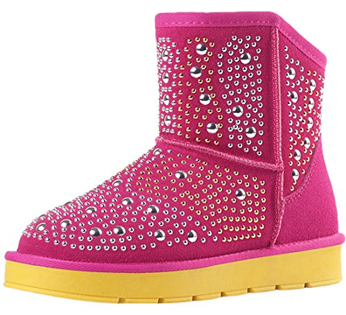 Snow Nubuck Ankle Women Warm Winter Stud HooH Boots Boots Fur Bling Red dxwrqzwF