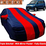 Autofact Car Body Cover for Maruti Wagon r/Wagonr (Mirror Pocket, Premium Fabric, Triple Stiched, Fully Elastic, Red/Blue Color)