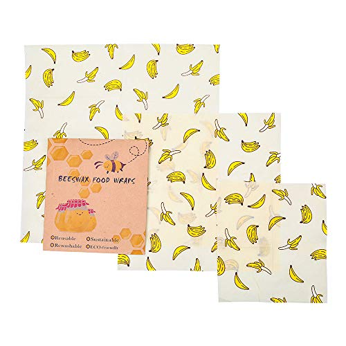 3PCS Premium Beeswax Food Wraps, Reusable Eco Friendly Food Storage, Organic Sandwich & Cheese Food Wrapping Paper by DIOMO (Banana)