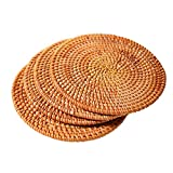 "Hand-woven Rattan Coasters, Rattan Trivets for Hot Dishes Hot Pads, Exotic Handmade Teacup coasters, Creative Gift,Set of 4 (Round 7.87"")"