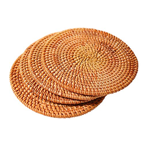 Hand-woven Rattan Coasters, Rattan Trivets for Hot Dishes Hot Pads, Exotic Handmade Teacup coasters, Creative Gift,Set of 4 (Round 7.87