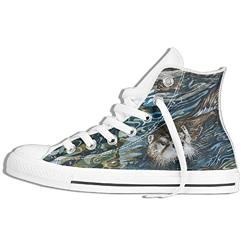 Classic High Top Sneakers Canvas Shoes Anti-Skid Beaver Painting Casual Walking For Men Women White rNReMx