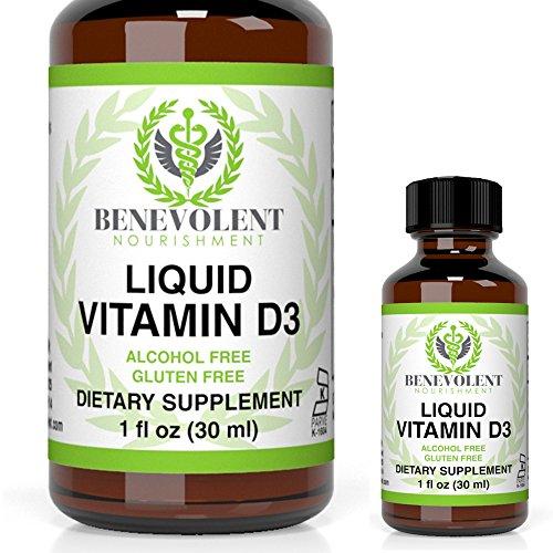 Vitamin D3 Liquid Drops Potent & Effective 5000 IU 1000 IU per Drop. Fast Absorbing Liquid Formula Unflavored Dietary Supplement for Entire Family 100% Alcohol & Gluten Free