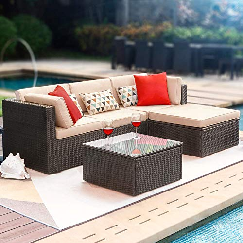 FDW 5 Pieces Outdoor Patio Furniture Sets Sectional Sofa Rattan Chair Wicker Conversation Set Outdoor Backyard Porch Poolside Balcony Garden Furniture with Coffee Table Brown