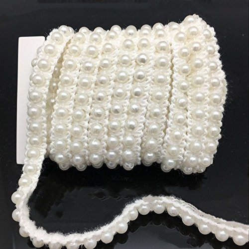 - FQTANJU 5 Yards Faux Pearls Lace Ribbon Applique Pearl Fringe for Wedding Party Decoration, Home Deco, Lamp Shade, Costume, Lvory.