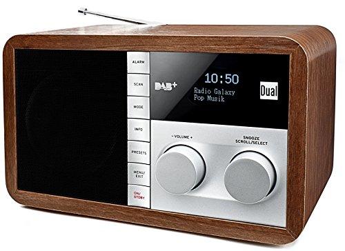 Dual DAB 32 Digitalradio mit OLED-Display (UKW/DAB+ Tuner, Senderspeicherfunktion, Wecker, AUX-In, Kopfhöreranschluss, Holzoptik) braun