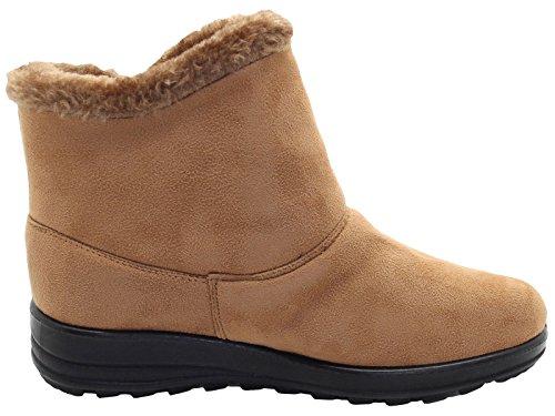 True Face Women Winter Ankle Boots Flat Fur Boots Comfy Snug Snow Shoe Brown fl55k30ZQs