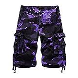 HAKJAY Comouflage Cargo Shorts for Men 3 4 Short (32, Purple)