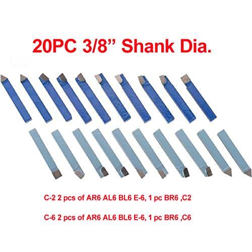 LLDSIMEX 20pcs 3/8'' Carbide Tip Tipped Cutter Tool Bit Cutting Set by LLDSIMEX
