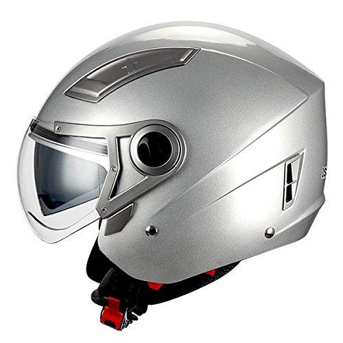 (1STORM MOTORCYCLE OPEN FACE HELMET SCOOTER BIKE DUAL LENS/SUN VISOR GLOSSY SILVER)