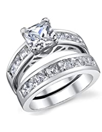 Metal Masters Co.® 1 Carat Radiant CZ Sterling Silver 925 Wedding Engagement Ring Band Set Sizes 4 to 11