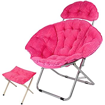 Genubi Saucer Chair, Foldable Indoor Outdoor Moon Chair, Corduroy Cover  Portable Seat With Small