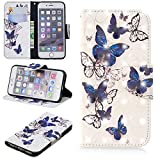 Ostop iPhone 6S Plus Wallet Case,iPhone 6 Plus Case,3D Cute Printed Pattern Leather Case Kickstand Card Holder Magnetic Flip Folio Cover,Blue Transparent Butterfly White PU
